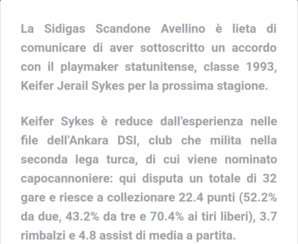 BASKET, SCANDONE AVELLINO. Sykes è il nuovo play biancoverde.