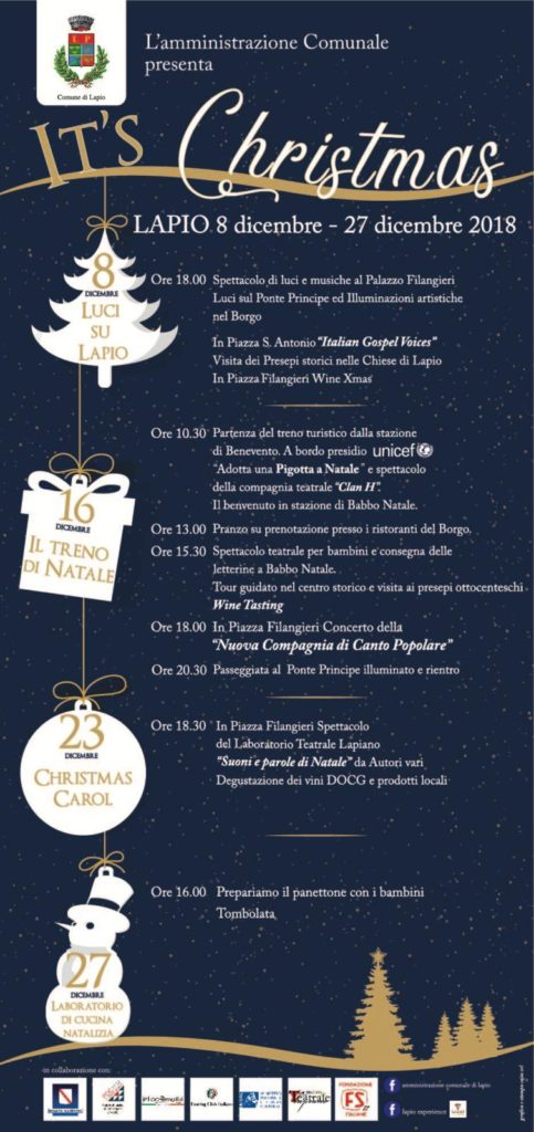 "Christmas is Coming, eventi a Lapio dall'8 al 27 dicembre con ""It's Christmas"""