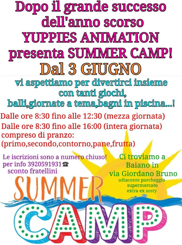 BAIANO. Il 3 giugno riparte il Summer Camp di Yuppies Animation