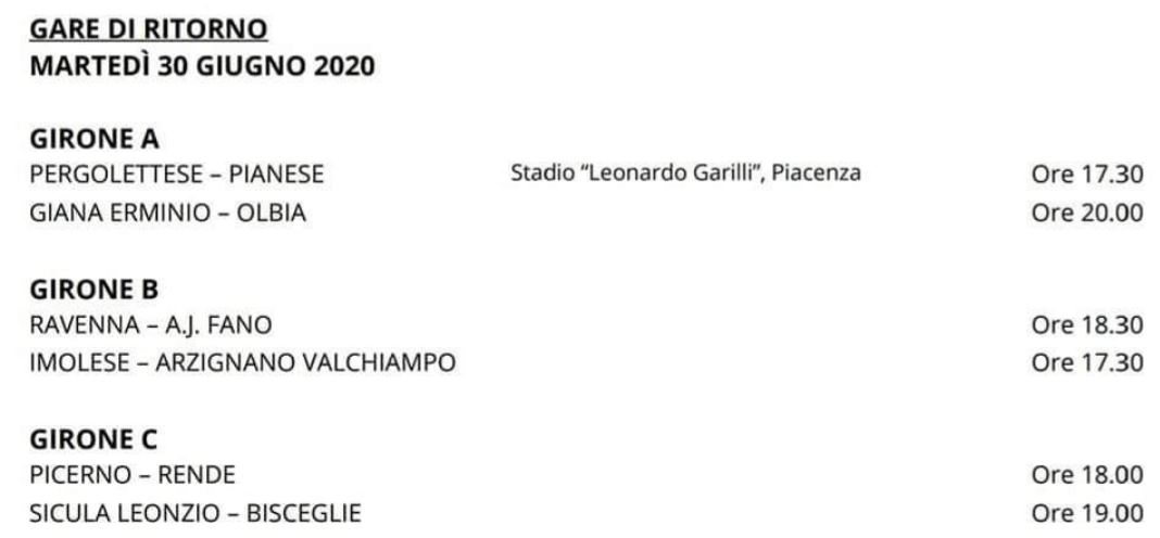 Calcio, Serie C. Il programma dei play out.